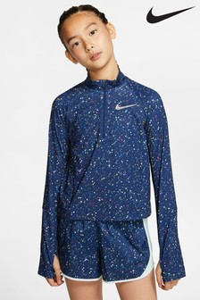 Nike Pro Navy Star Print 1/2 Zip Top