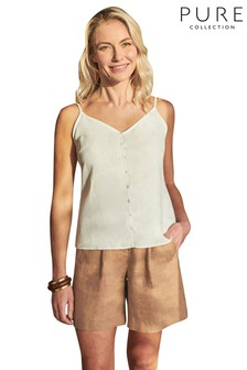 Pure Collection White Linen Camisole