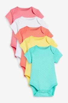 5 Pack Printed Short Sleeve Bodysuits (0mths-3yrs)