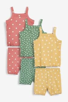 3 Pack Spot/Star/Heart Jersey Rib Cami And Shorts Pyjamas (9mths-8yrs)