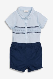 Smock Shirtbody And Navy Shorts Two Piece Set (0mths-2yrs)