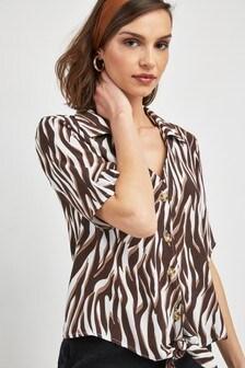Zebra Print Knot Front Shirt
