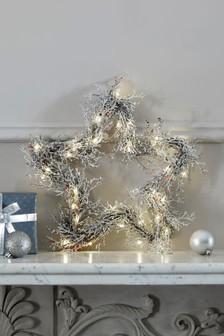 Lit Glitter Star Wreath