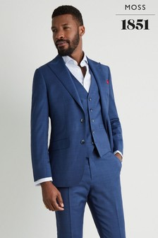 Moss 1851 Tailored Fit Blue Sharkskin Jacket