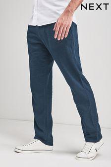 Pantaloni in misto lino con coulisse