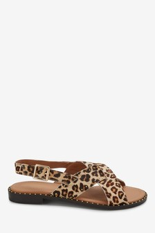 Signature Comfort Studded Cross Strap Sandals