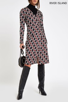 River Island Brown Geometric Print Wrap Dress