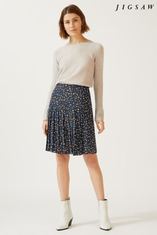Jigsaw Blue Whimsical Leaves Pleated Skirt