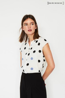 Warehouse Cream Painted Spot Split Back Blouse
