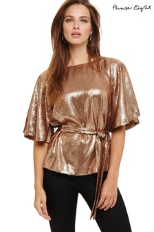 Phase Eight Rose Gold Kiera Sequin Blouse