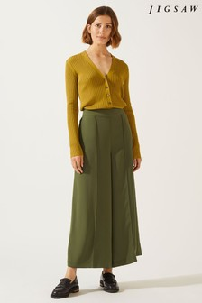 Jigsaw Green Relaxed Gathered Waist Culotte
