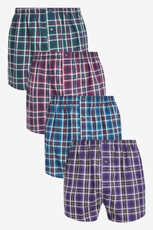 Woven Boxers Cotton Rich Four Pack