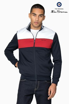 b063811f9 Ben Sherman Blue Tricot Pattern Block Panelled Track Top