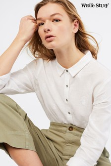 White Stuff White Amelie Embroidered Linen Shirt