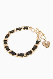 Black Ribbon Heart Charm Bracelet