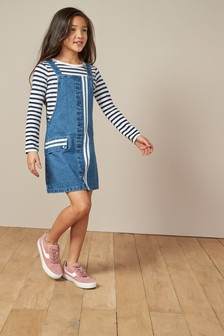 Stripe Detail Pinafore (3-16yrs)