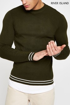 River Island Green Long Sleeve Ripped Crew Neck Jumper