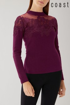 Coast Pink Jett Mesh Lace Knit Top