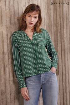 Warehouse Green Stripe Pyjama Shirt