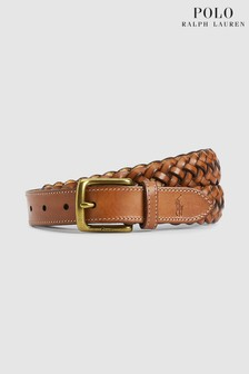 Polo Ralph Lauren Tan Leather Braided Belt