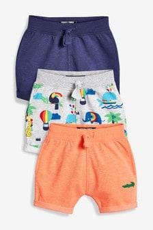 彩虹全版印花挖土機圖案短褲三件裝 (3個月至7歲)