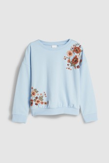 3D Floral Embroidered Crew (3-16yrs)