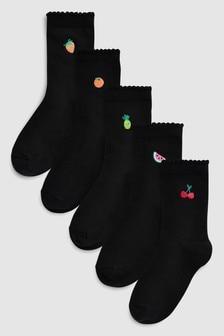 Fruit Embroidery Ankle Socks Five Pack (Older)