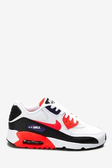 Nike White/Red Air Max 90 Youth Trainers