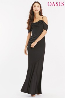 Oasis Black Amy Slinky Cowl Neck Maxi