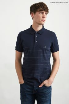 French Connection Blue Summer Engineered Stripe Polo