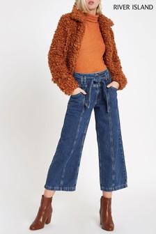 River Island Mid Wash Belted Wide Leg Jean