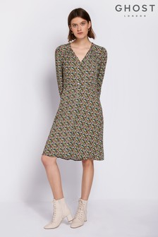 Ghost London Green Gwen Printed Crepe Dress