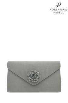 Adrianna Papell Silver Satin Rose Envelope Clutch Bag