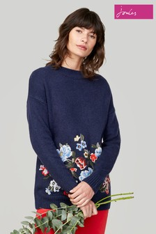 Joules Blue Penny Jumper With Embroidery Detail