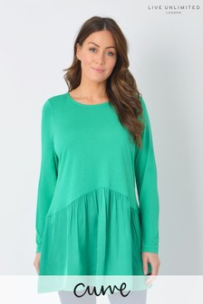 Live Unlimited Curve Green Satin Hem Long Sleeve Top