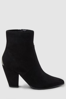Feature Heel Western Ankle Boots