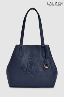 Polo Ralph Lauren® Navy Huntley Leather Tote Bag