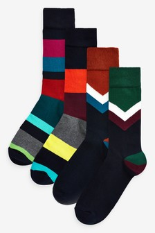 Chevron And Stripe Socks Four Pack
