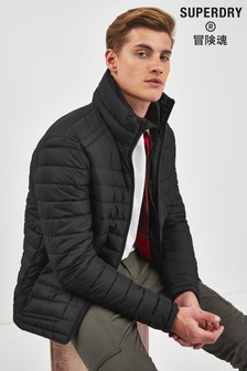 Superdry Black Zip Fuji Coat