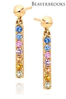 Beaverbrooks 9ct Multi Coloured Sapphire Drop Earrings