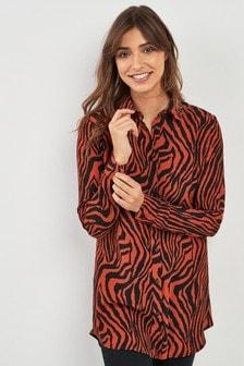 Zebra Print Longline Shirt