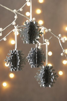 Set of 4 Snowflake Baubles