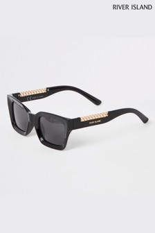 River Island Black Thick Frame Sunglasses With Chain And Contrast Arm
