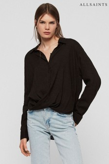 AllSaints Black Elina Twist Front Shirt
