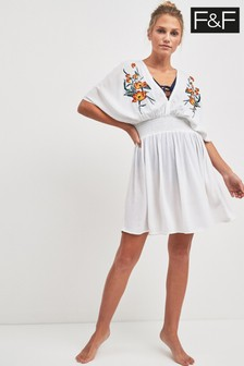 F&F Ivory Embroidered Bead Sheer Dress