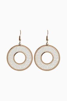 Beaded Circle Drop Earrings