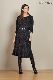 Baukjen Black Mini Polka Kali Relaxed Dress