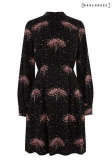 Warehouse Black Star Tree Printed Skater Dress
