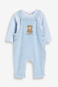 Bear Dungarees And Stripe Bodysuit Set (0-12mths)