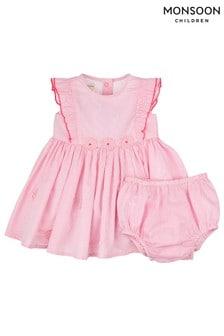 Monsoon Pink Newborn Baby Flora Dress
